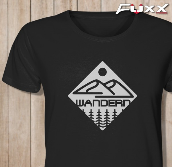 "Premium Shirt "" WANDERN "" Berge Schwarz"