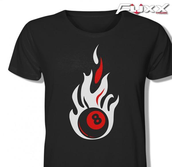 "Billard Shirt "" FEUER ACHT "" 8 Kugel - schwarz"