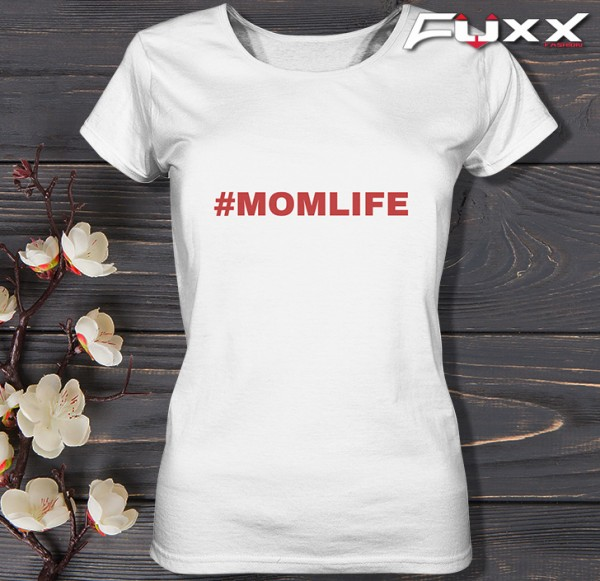 "Ladies Shirt "" # MOMLIFE "" Mütter weiß rot"