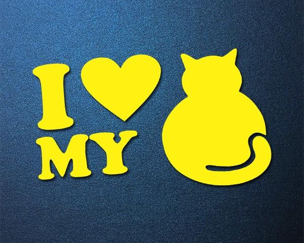 Sticker LOVE MY CAT Auto Aufkleber Katze Kitty