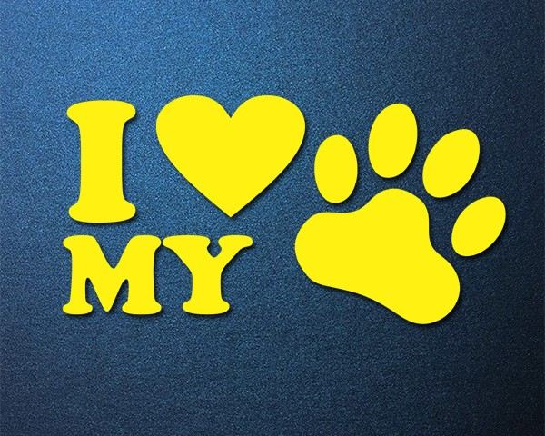 Sticker LOVE MY DOG Auto Aufkleber Hund