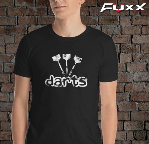 """Dart Shirt """" DARTS """" Schriftzug mit Pfeilen schwarz weiß"""