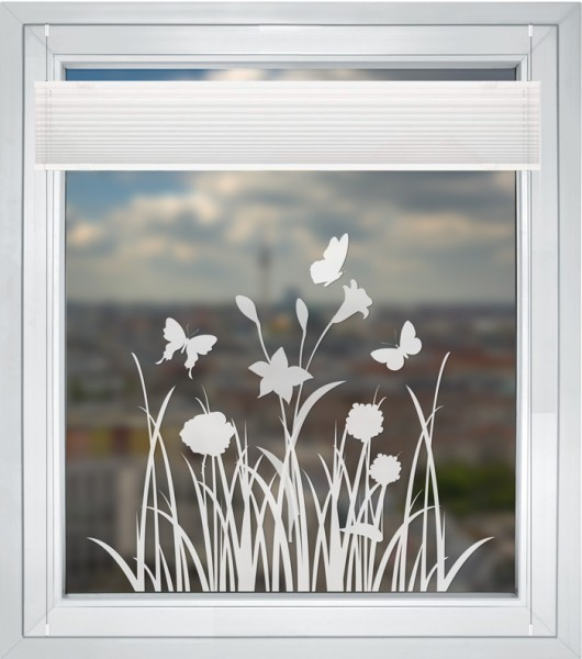 """Fensteraufkleber """"Flower 1"""" Blumenmotiv mit Schmetterling Sticker Milchglasfolie"""