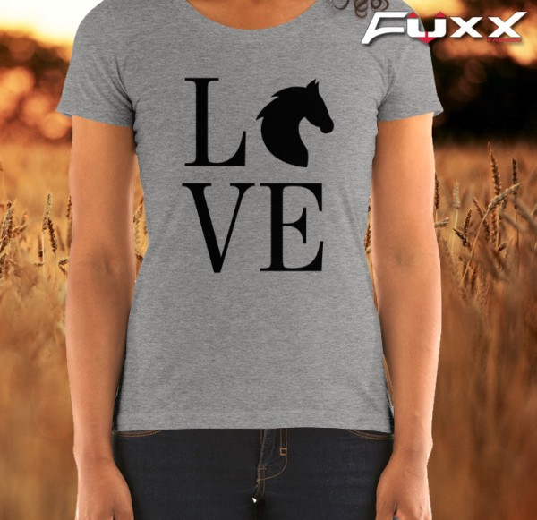 "Shirt Reiten "" Love Horse "" Pferde Liebe grau"