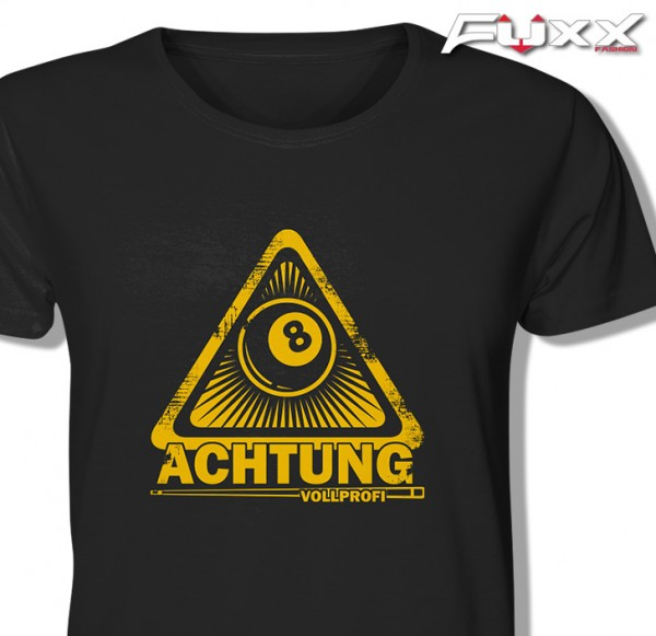 "Billard Shirt "" Achtung Vollprofi "" 8 schwarz gelb"